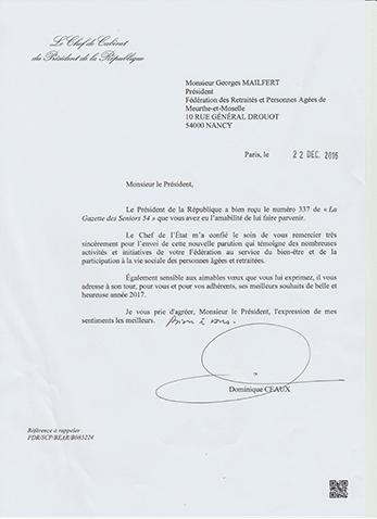 Courrier du chef du cabinet de la pr sidence de la - Cabinet de la presidence de la republique ...