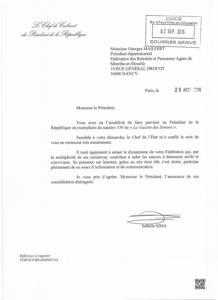 Courrier du 26 août 2016 - Chef du cabinet du Président de la République