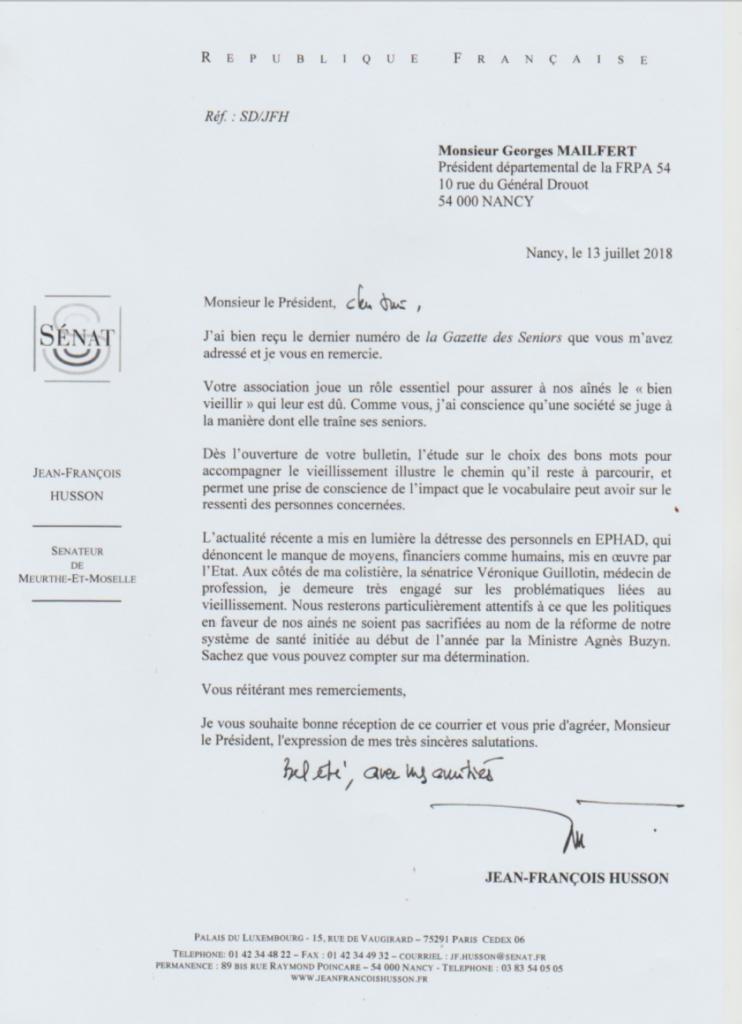 Courrier de Jean-Francois Husson
